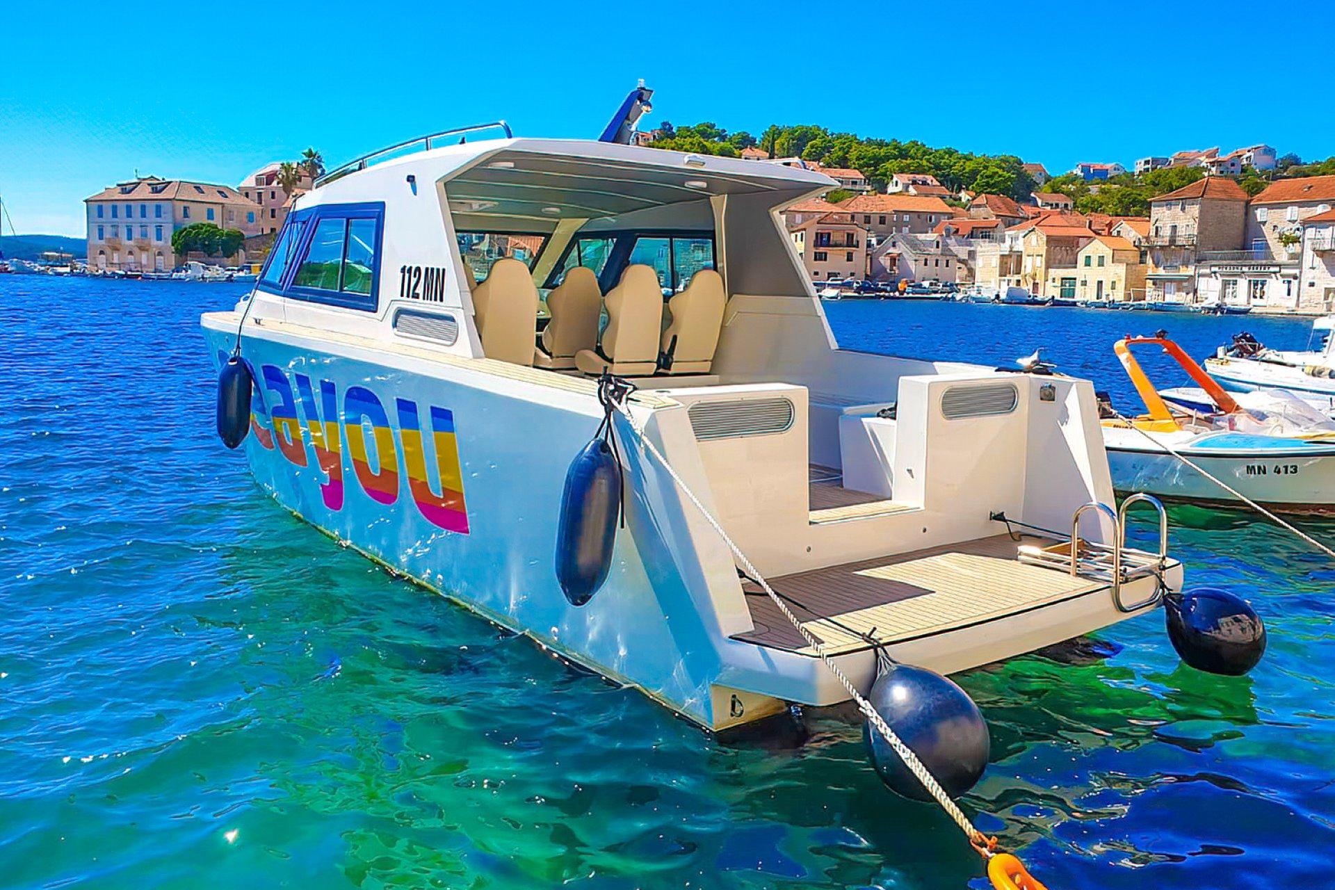 Inside area of luxury boat