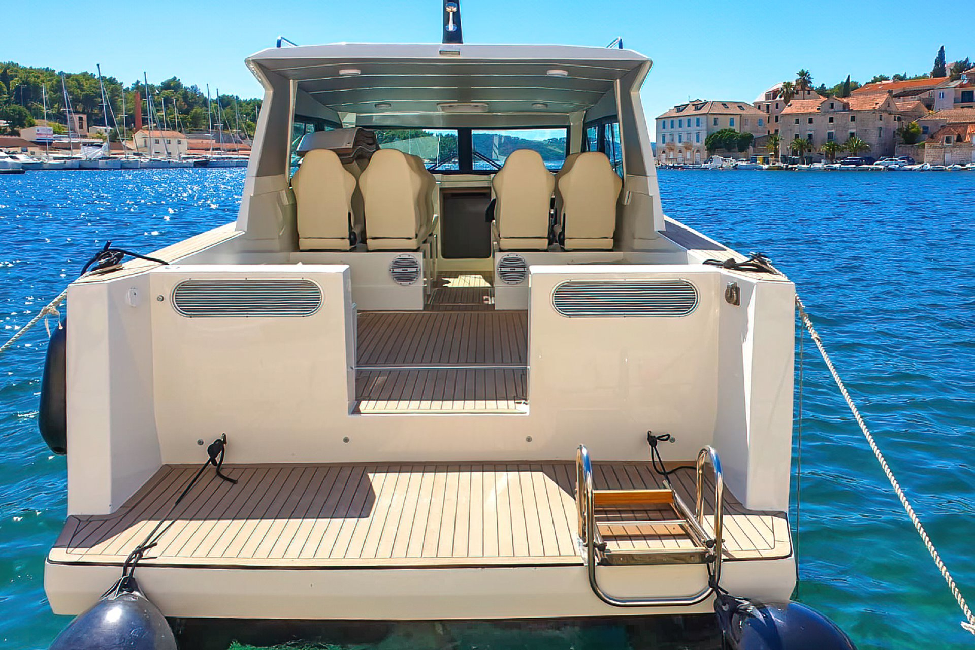 Seating area of 12m boat for boat tours from Split and Brac